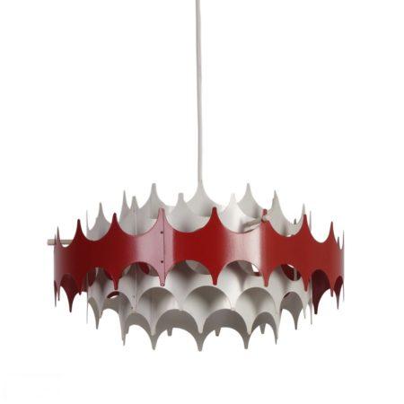 Wit en Rood Metalen Hanglamp van Doria, 1960s | Vintage Design