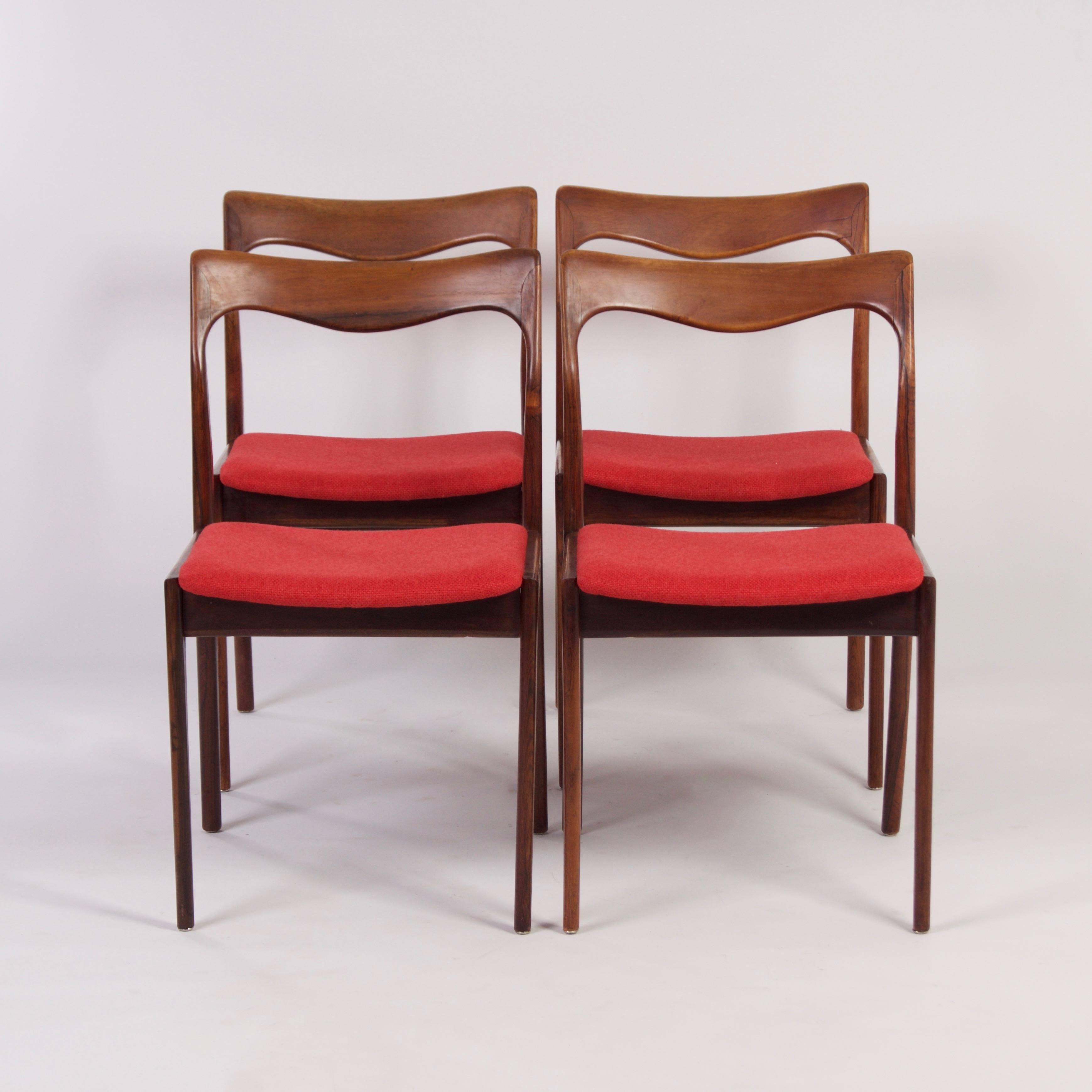 Vintage | Rode Palissander Eetkamer Stoelen van AWA - 1960s, set van ...