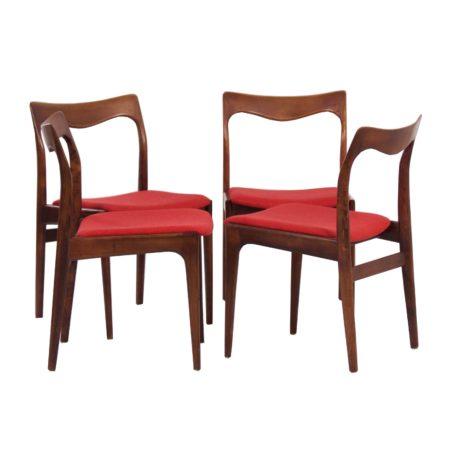 Rode Palissander Eetkamer Stoelen van AWA – 1960s, set van 4 | Vintage Design