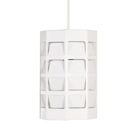 Witte Achthoekige Hanglamp van Poul Gernes voor Louis Poulsen ca. 1950 | Vintage Design
