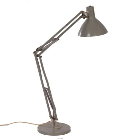 Architectenlamp Model Terry 2 | Grijze Industriële Hala Bureaulamp van H. Busquet, ca. 1960 | Vintage Design