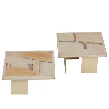 Witte Paul Kingma Salontafels – Set van Twee, 1982 | Vintage Design