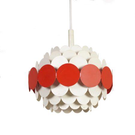 Doria Hanglamp   Oranje Wit Metaal, 1960s   Vintage Design
