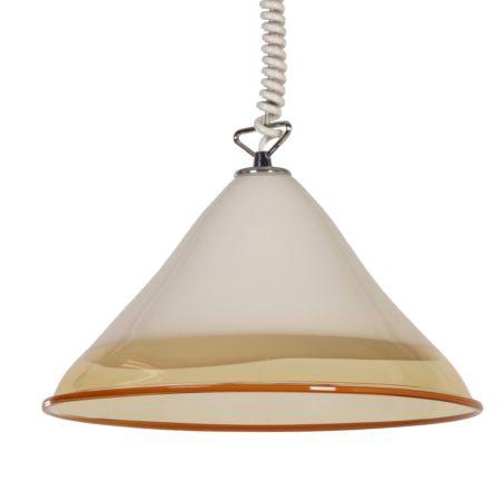 Mondgeblazen Hanglamp van Renato Toso voor Leucos Italië, 1970s | Vintage Design