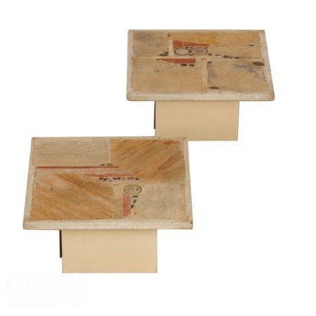 Paul Kingma Salontafels – witte vierkante set van twee, 1980s