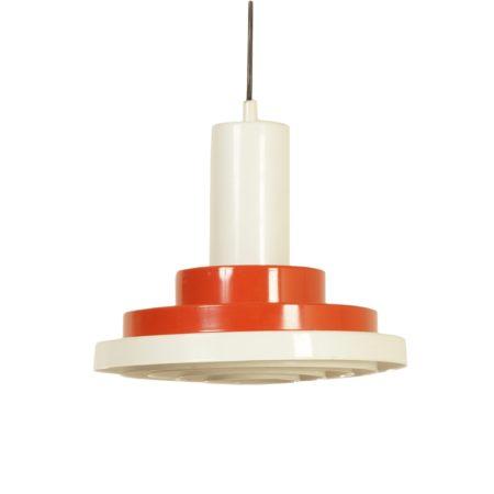 Deense Hanglamp van Oranje-Rood Wit Metalen Ringen, 1960s | Vintage Design