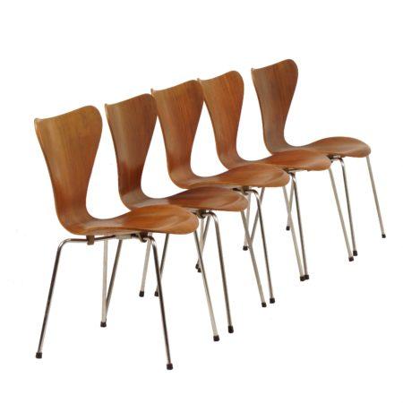 Teakhouten Vlinderstoelen Serie 7 van Arne Jacobsen voor Fritz Hansen, 1950s | Vintage Design