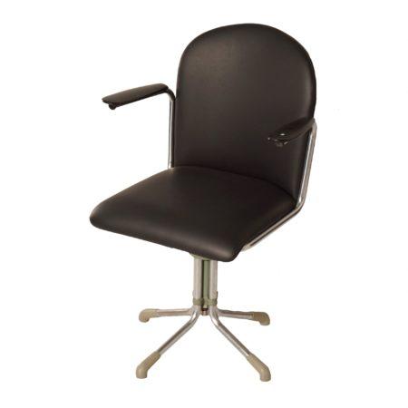 356 Bureaustoel in Zwart Leder van W.H. Gispen, 1930s | Vintage Design