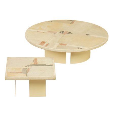 Witte Natuurstenen Salontafels van Paul Kingma, 1982 – Set van 2 | Vintage Design