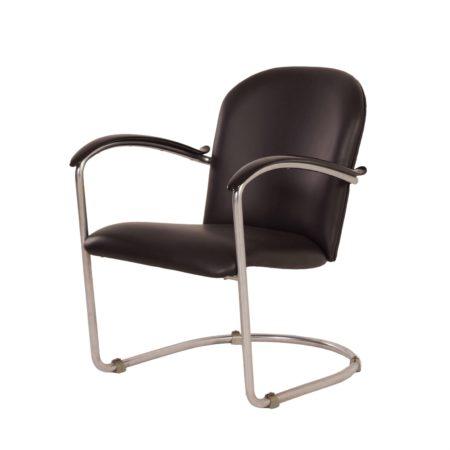 414 Damesfauteuil van W.H. Gispen voor Gispen, 1930s – Opnieuw Gestoffeerd | Vintage Design