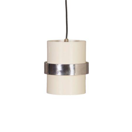 Witte Cilinder Hanglamp met Gepolijst Sierband van Philips, 1970s | Vintage Design