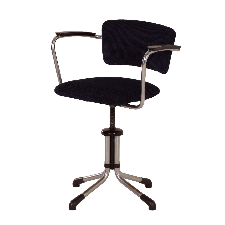 Nieuwe Bureau Stoel.Gispen 354 Bureaustoel Met Nieuwe Blauw Zwarte Stof 1930s