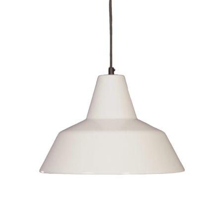 Witte Emaille Hanglamp van Louis Poulsen, 1970s | Vintage Design
