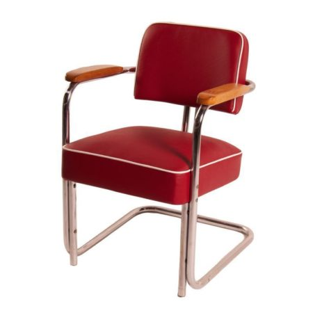 Buis Fauteuil met Rode Skai en Witte Bies van Bauhaus, 1930's | Vintage Design