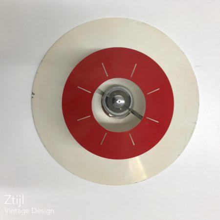 Space Age Plafondlamp van Louis Kalff voor Philips, ca 1958 | Rood en Wit