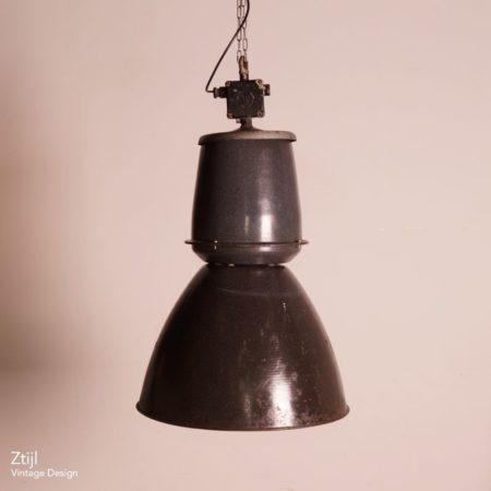 Grote Emaille Fabriekslamp van EFC, 1950s – (2)