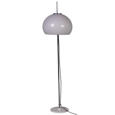 Hagoort Vloerlamp met witte tulipvoet en verstelbare kap   Vintage Design