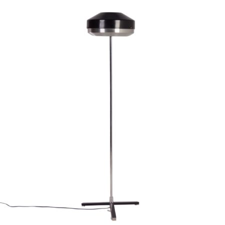 Zwart Chromen Vloerlamp van Hiemstra Evolux, 1960s | Vintage Design