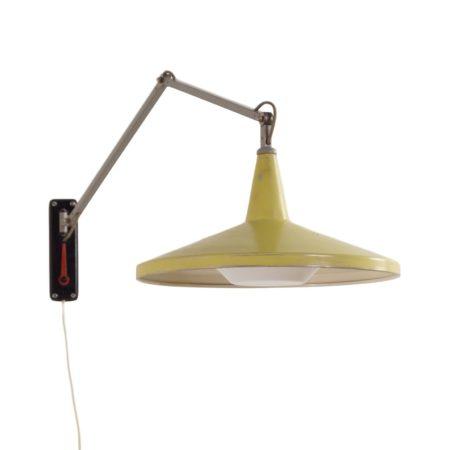Zeldzame Gele Panama Wandlamp model no. 4050 van Wim Rietveld voor Gispen, 1956 | Vintage Design