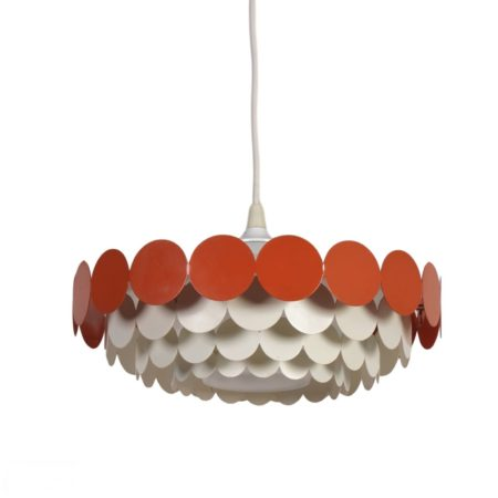 Wit Orange Metalen Hanglamp van Doria, 1960s | Vintage Design