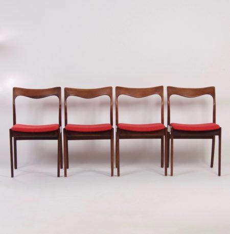 Rode Palissander Eetkamer Stoelen van AWA – 1960s, set van 4