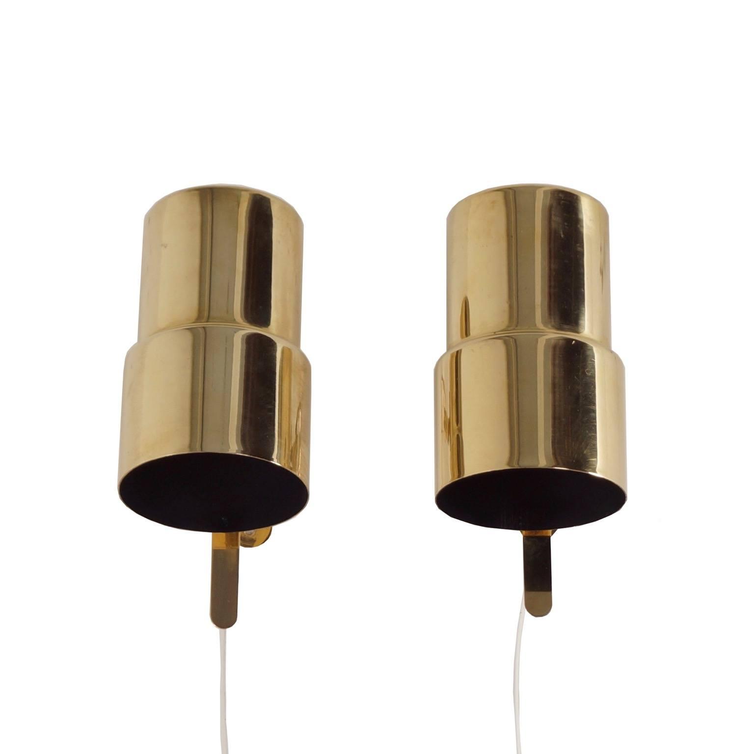 vintage messing wandlampjes van hans agne jakobsson voor. Black Bedroom Furniture Sets. Home Design Ideas