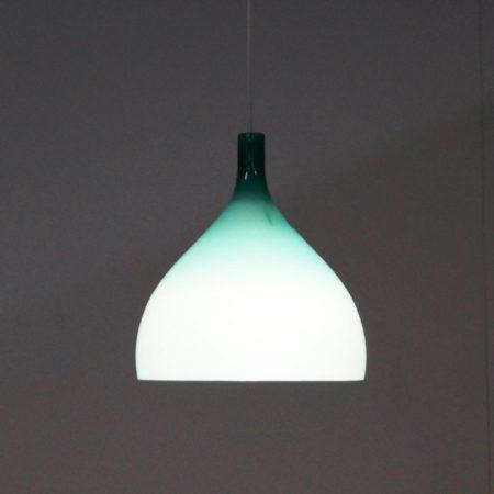 Groene Murano Hanglamp van Paolo Venini voor Venini & C, 1960s Italië