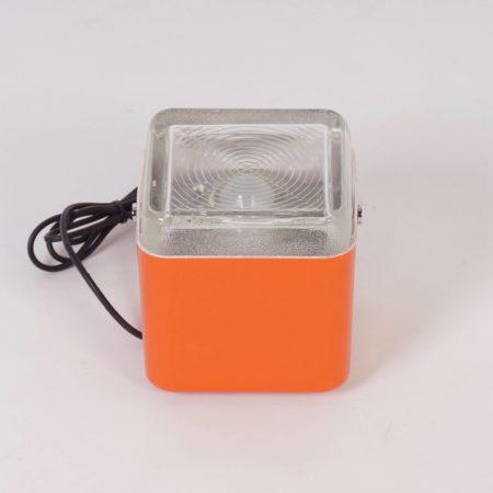 Oranje Kubus Lampje van Lamperti Robbiate, Italië 1970s
