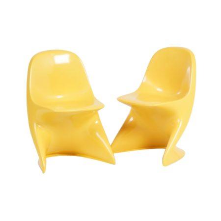 Casalino Kinderstoeltjes van Alexander BEGGE voor Casala, 1970 – set van twee, geel | Vintage Design