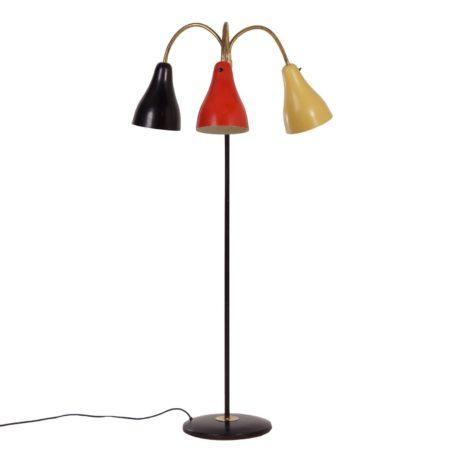 Jaren '50 Hagoort Vloerlamp van De Bijenkorf Den Haag in de Rietveld Kleuren Zwart, Rood en Geel | Vintage Design
