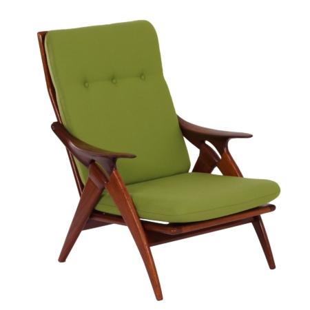 Teakhouten Fauteuil 'De Knoop' van De Ster, 1960s – Opnieuw bekleed met Groene Stof | Vintage Design