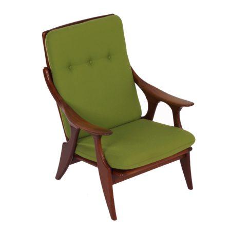 Teakhouten Fauteuil van De Ster, 1960s – Opnieuw bekleed met Groene Stof | Vintage Design