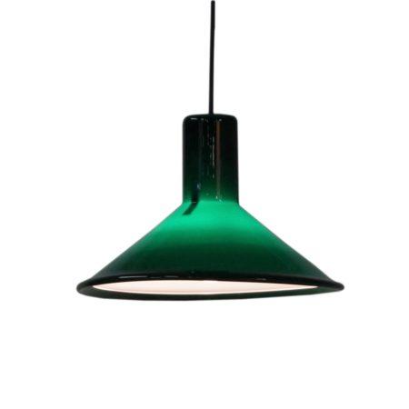 Groene P&T Pendel Lamp van Michael Bang voor Holmegaard, 1970s | Vintage Design
