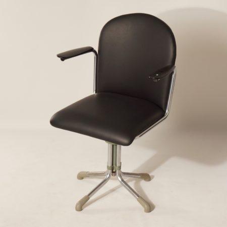 356 Bureaustoel in Zwart Leder van W.H. Gispen, 1930s