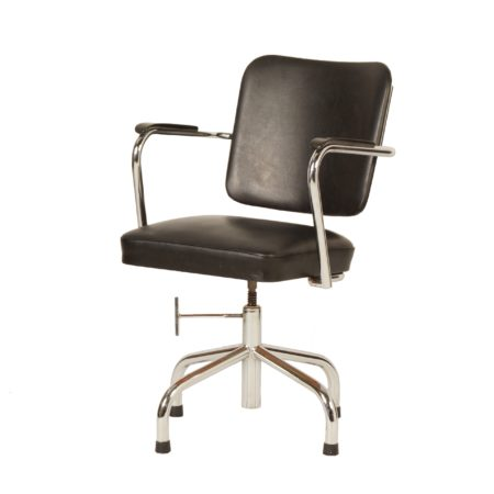 Zwarte Bureaustoel met Armleuningen van Fana, 1950s | Vintage Design