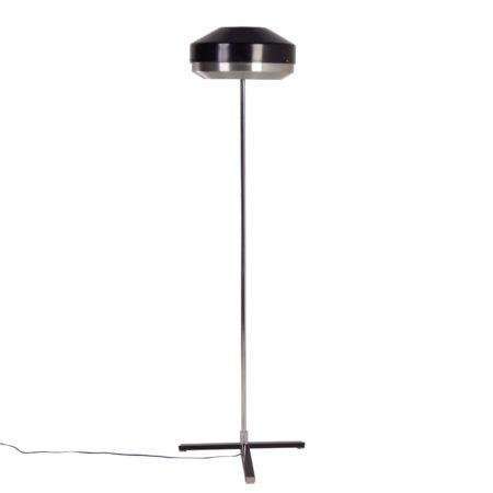 Zwart Chromen Vloerlamp van Hagoort Lampen, 1960s
