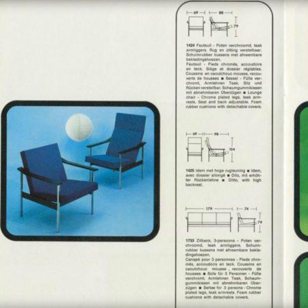 Verstelbare Gispen 1424 Fauteuil van Andre Cordemeyer voor Gispen, 1960s | Nieuwe Groene ploegstof