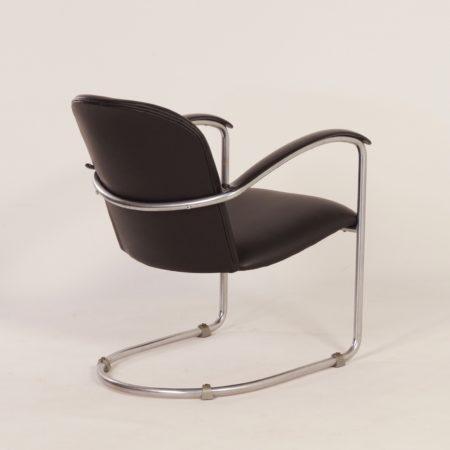 414 Damesfauteuil van W.H. Gispen voor Gispen, 1930s – Opnieuw Gestoffeerd