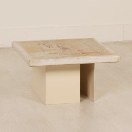 Witte Salontafel van Paul Kingma, 1980s – Vierkant 59 cm