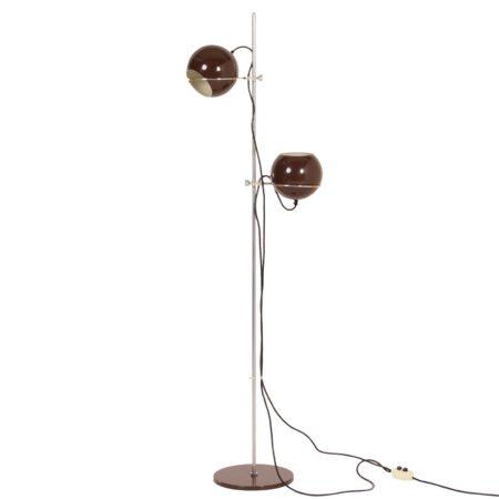 Gepo Vloerlamp met 2 Bruine Bollen van de gebr. Posthuma, 1960s | Vintage Design