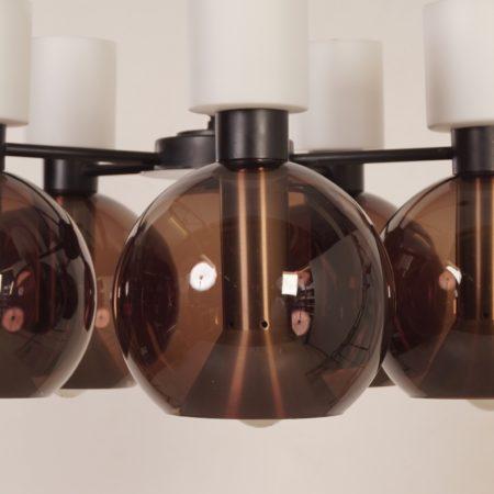 Glazen Kroonluchter met vijf Globes van RAAK, 1960s