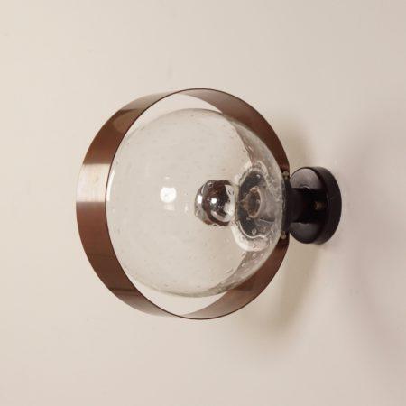 Indoor Wandlamp van Transparant Glas en Koper, 1970s