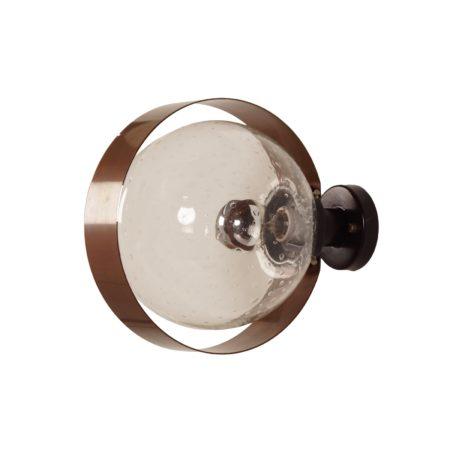 Indoor Wandlamp van Transparant Glas en Koper, 1970s | Vintage Design