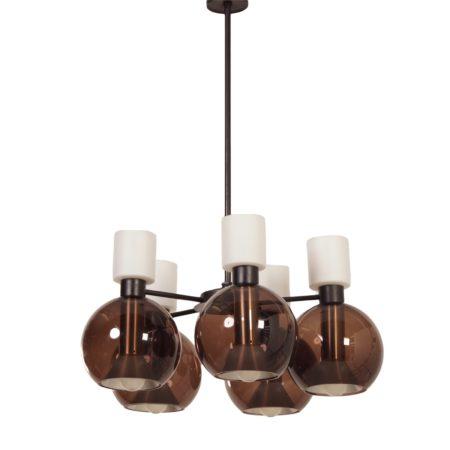 Glazen Kroonluchter met vijf Globes van RAAK, 1960s | Vintage Design