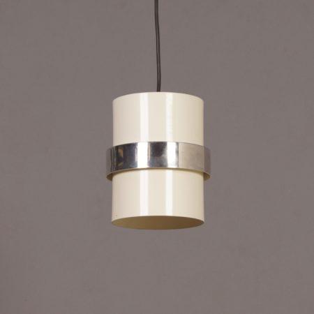 Witte Cilinder Hanglamp met Gepolijst Sierband van Philips, 1970s
