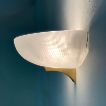Art Deco Wandlamp van Jean Perzel, 1930s | Gezandstraald Glas