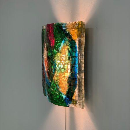 Glasappliqué Wandlamp van van Tetterode Studio, 1960s