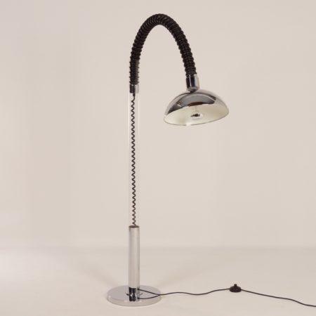 Chromen Space Age Vloerlamp met Flexibele Arm van Cosack, 1970s