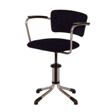 Gispen 354 Bureaustoel met Nieuwe Blauw Zwarte Stof, 1930s