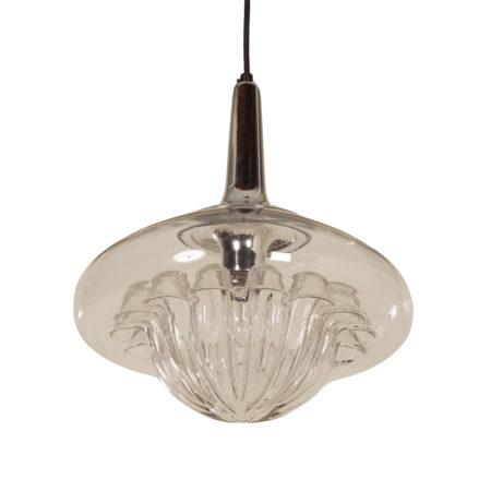 Schitterende Mondgeblazen Glazen Hanglamp van Peill & Putzler, 1970s | Vintage Design